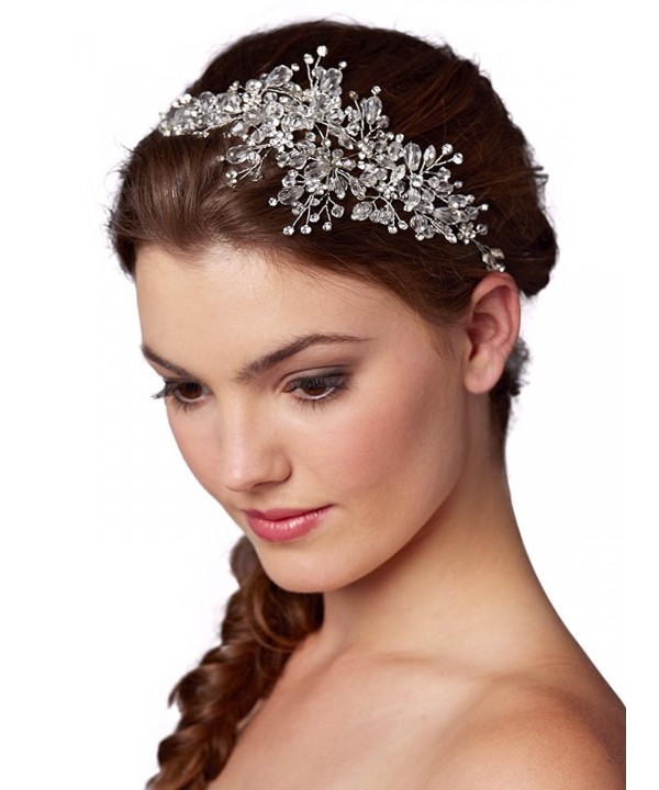 Mariell Couture Crystal Spray Bridal Headpiece Hair Vine - Wedding Hairband Glam - CF12O6NUNO4