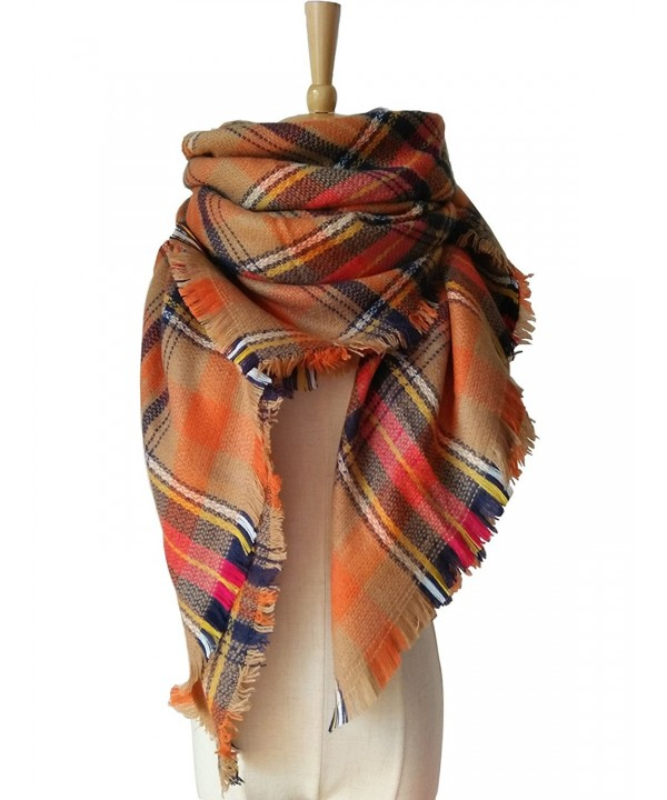 MOLERANI Women's Tassels Soft Plaid Tartan Scarf Winter Large Blanket Wrap Shawl - 11-orange - CX12MR09JQ3