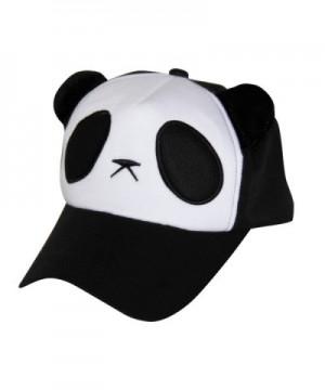 ROPALIA Womens Snapback Baseball Cap Hip Hop Beret Korean Vogue Panda Cartoon Hat - Black - CK129840767