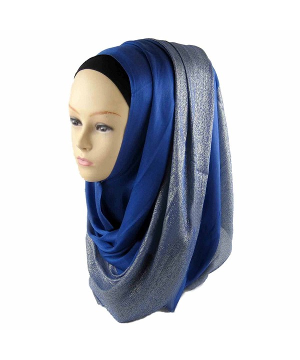 ManY Cotton Silver Jersey Hijab Scarf Wrap Tassels Scarf for Women - Royal Blue - CR182LEICAG