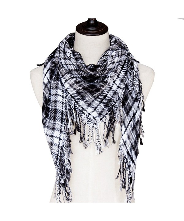 100% Cotton Tactical Military Shemagh Premium Arabic Desert Keffiyeh Scarf Wrap - White Black - CF1882C5G98