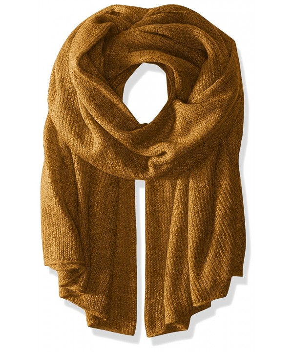 Steve Madden Women's solid Lightweight Super Soft Knit Blanket Wrap - Mustard - CR12KMQPL2Z