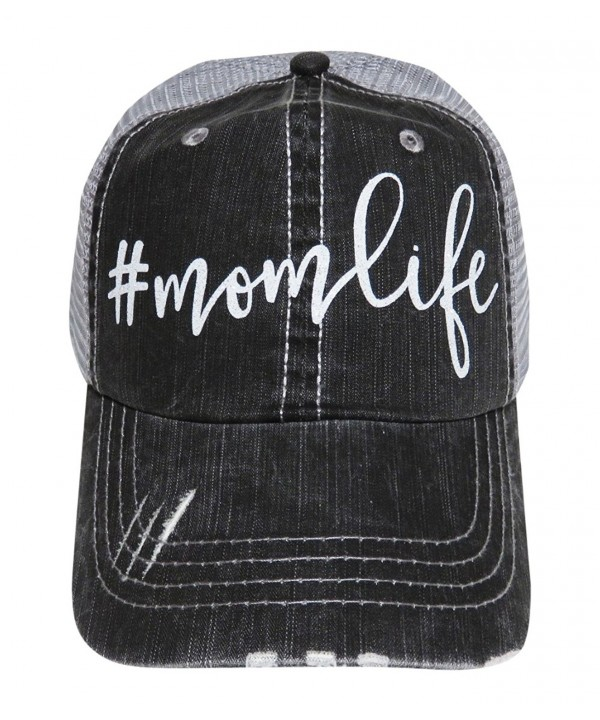 NEW!! White Glitter MomLife Distressed Look Grey Trucker Cap Hat Fashion - CG12MXD03CI