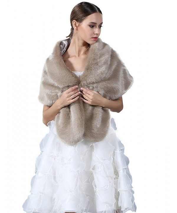 Elegant Handmade Premium Faux Fox Fur Casual- Party/Evening Shawls- Scarf Wraps - (Khaki) - CO12NB6W61G