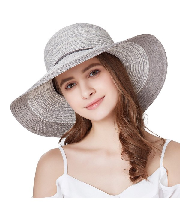 SOMALER Women Floppy Sun Hat Summer Wide Brim Beach Cap Foldable Cotton Straw Hat - Light Grey - CC180HMNO53