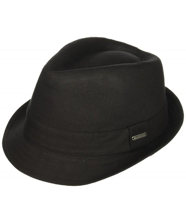 Van Heusen Men's Twill Herringbone Fedora Hat- Lightweight - Black - CO184T546QR