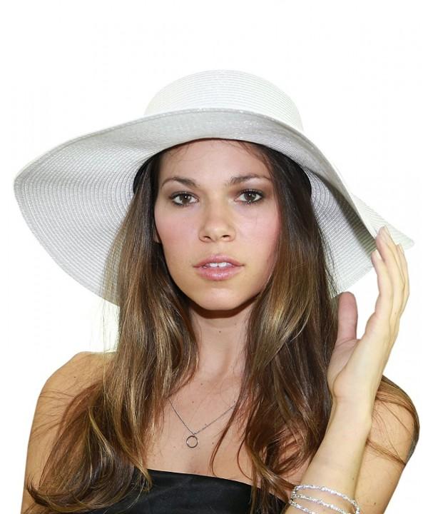 NYFASHION101 Women's Floppy Large Brim Black Band Beach Sun Hat - White - CF12F78GDEN