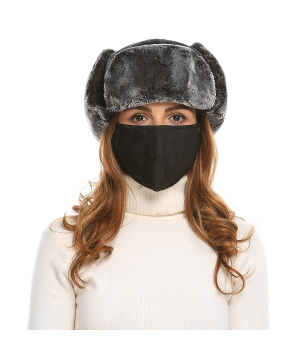 Zeagoo Trooper Trapper Russian Hats Aviator Winter Cap with Windproof Mask - Black - C2186I05G9D