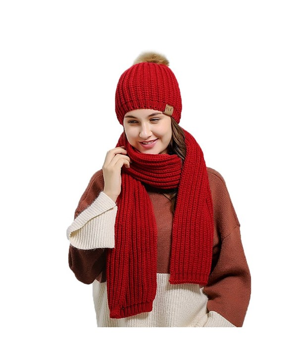 Fantastic Zone Winter Warm Knitted Women Fashion Scarf and Beanie Hat Set - Red - CY188ZH4M97
