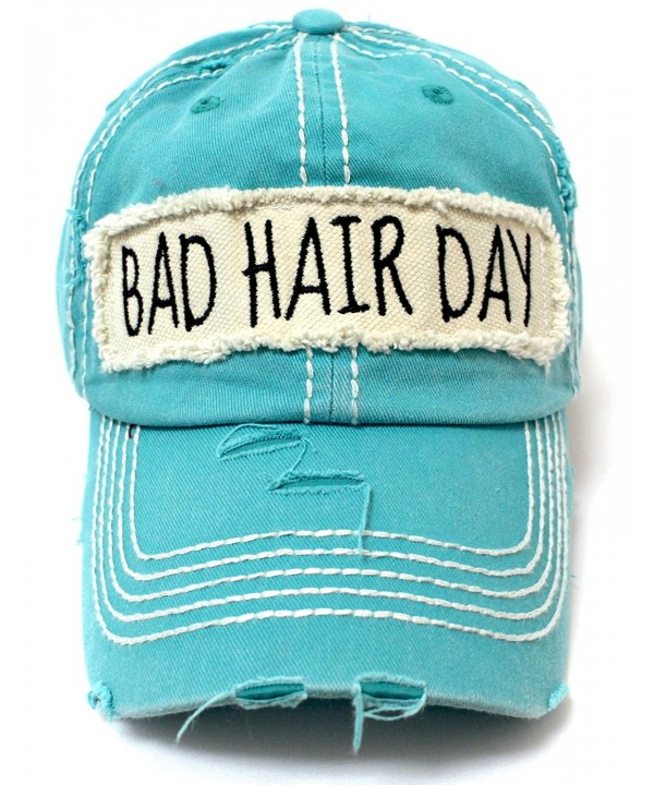 CAPS 'N VINTAGE Turquoise Bad Hair Day Embroidery Patch Distressed Cap w/Bad Hair Day Back - CT17YKI00RQ