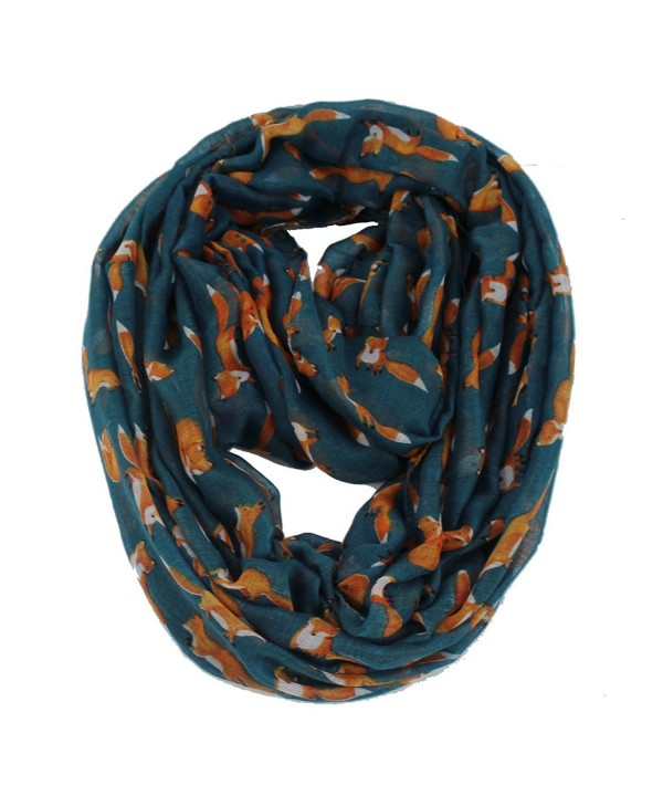 Women's Fox Animal Print Infinity Loop Cowl Casual Ladies Circle Scarf - Teal - CD188KLR44A