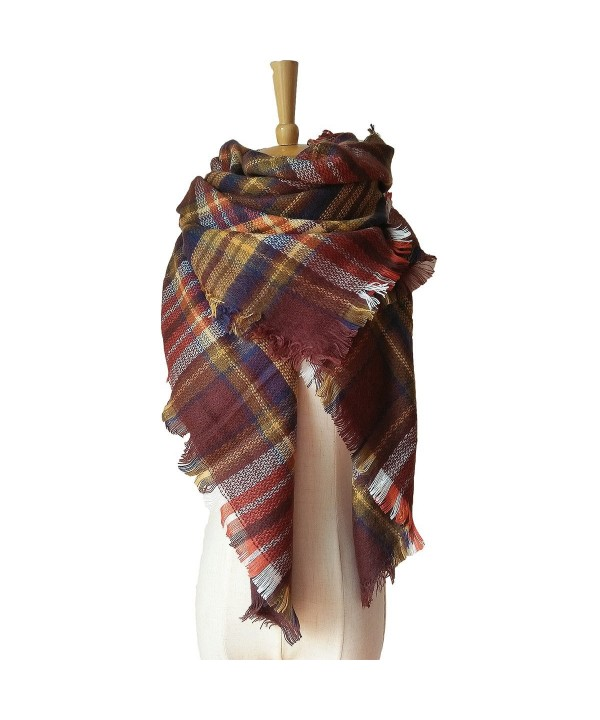 Womens Stylish Plaid Blanket Scarf - Brown - CC186ST8SW6