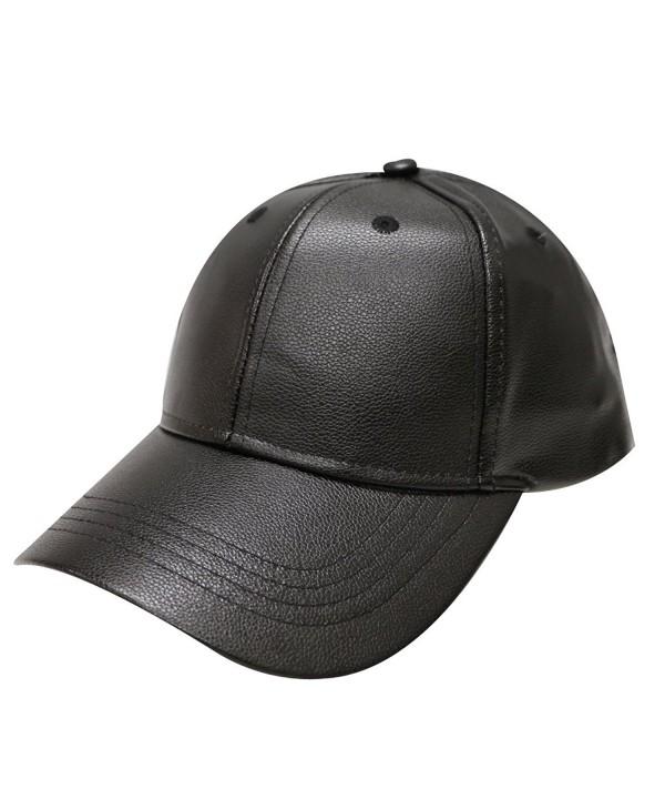 City Hunter Lc100 Plain Leather Cap (10 Colors) - Black - CJ12MX26GYY