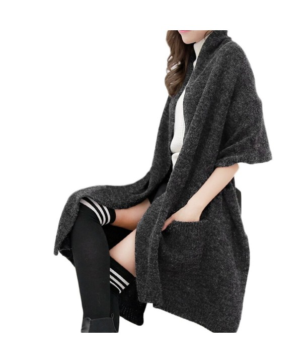 Hanerdun Womens Thick Knitted Shawls And Wraps Winter Soft Warm Scarf With Pockets - Black - CK127SUIXUZ