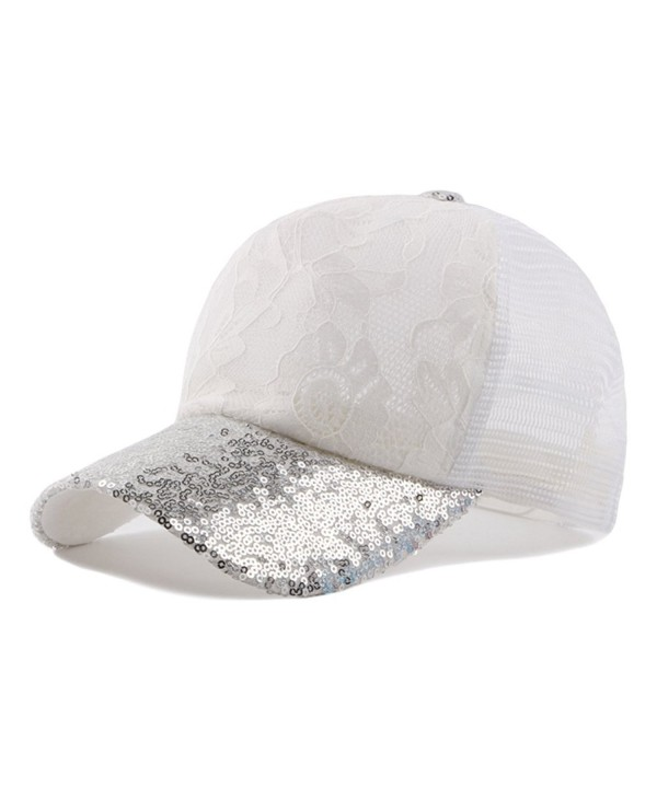 Qunson Womens's Mesh Lace Flower Print Trucker Baseball Cap Hat - White - CY12DF5P2BF