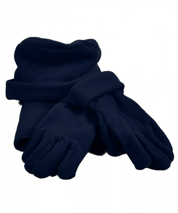 Women's Polyester Fleece Winter Set with Matching Hat- Gloves- and Scarf - Black - CV11T8MTQN5