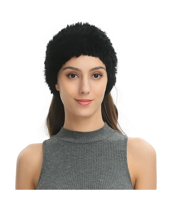 Ferand Women's Soft Real Rex Rabbit Fur Knitted Headband- Dual-use as Warm Snood Scarf for Winter - Black - CK188IT737E
