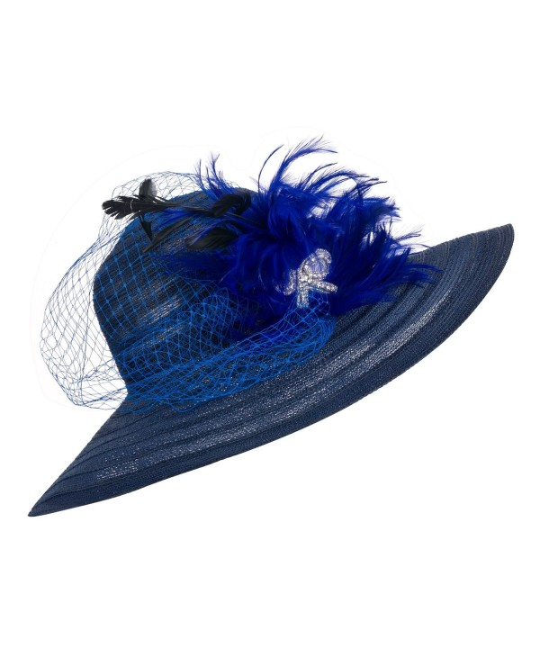 Lawliet Womens Dress Church Kentucky Derby Wide Brim Feather Wedding Veil Sun Hat A265 - Navy Blue - CN11WUE2YLJ