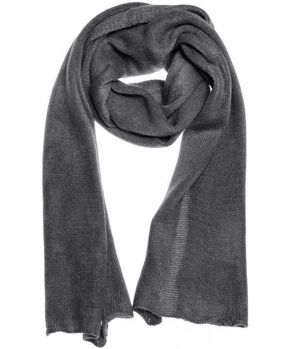 AN1225 Men's- Women's or Kids Basic Plain Knit Solid Color Scarf Muffler- Easy Neck Wrap - Gray - CE12MXEZMLM
