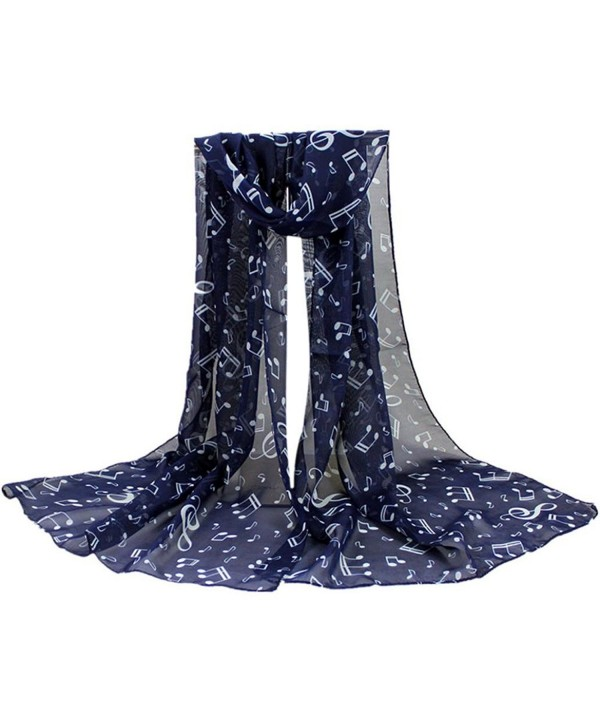 Lavany Women's Soft Musical Note Neck Scarf Thin Chiffon Long Shawl Wrap Scarves - Navy - CO186GLKKNC