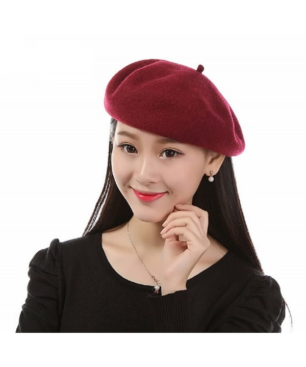 ieasysexy Classic French Style Lightweight Adult Women Casual Wool Beret Beanie - Wine Red - CQ12MZY1C8Z