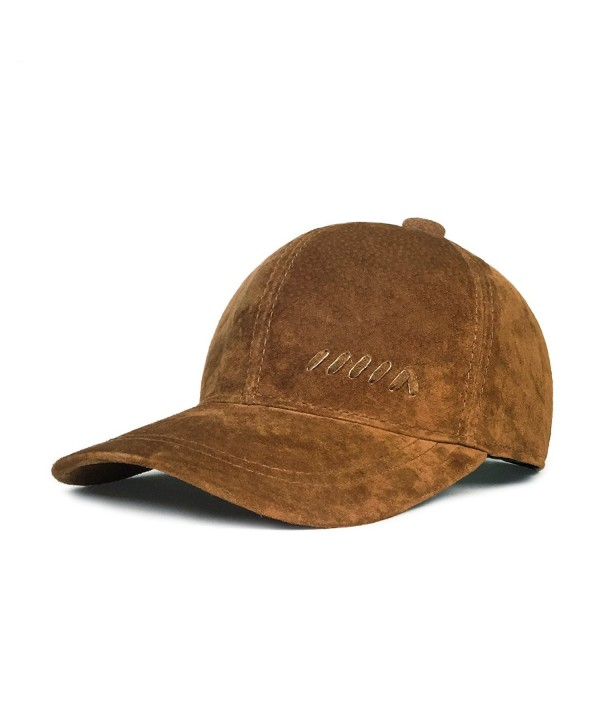 lethmik Baseball Cap Vintage Adjustable Unisex Suede Leather Hats With Snapback - Brown - CK128LBDDX7