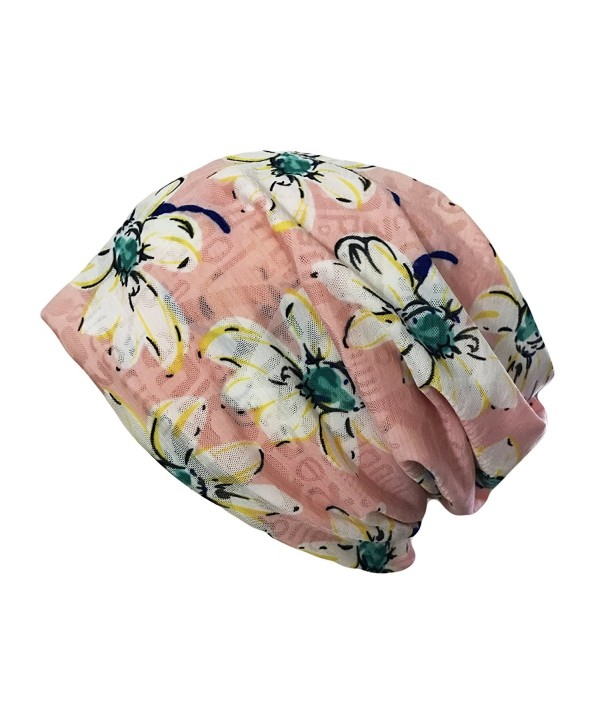 Qiabao Womens Printed Slouch Chemo Beanie Cap Hat for Cancer Patients - Pink - CU17AZUW29T