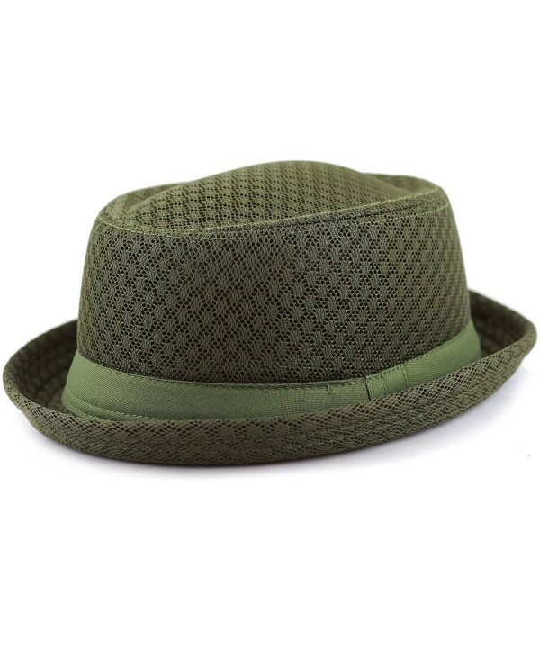 THE HAT DEPOT Unisex Light Weight Classic Soft Cool Mesh Porkpie Hat - Olive - C3182H4RK00