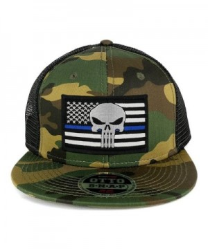 Punisher Thin Blue American Flag Embroidered Patch Camo Flat Bill Snapback Mesh Cap - Black - CY183A2KERC