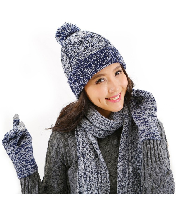 DTBG Knitted Beanie Gloves & Scarf Winter Set Warm Thick Fashion Hat Mittens 3 in 1 Cold Weather For Women - Blue - C71889K9SKR
