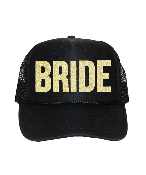 Bride Trucker Hat by Classy Bride (Black and Gold Glitter) - CC17AYRWD5X