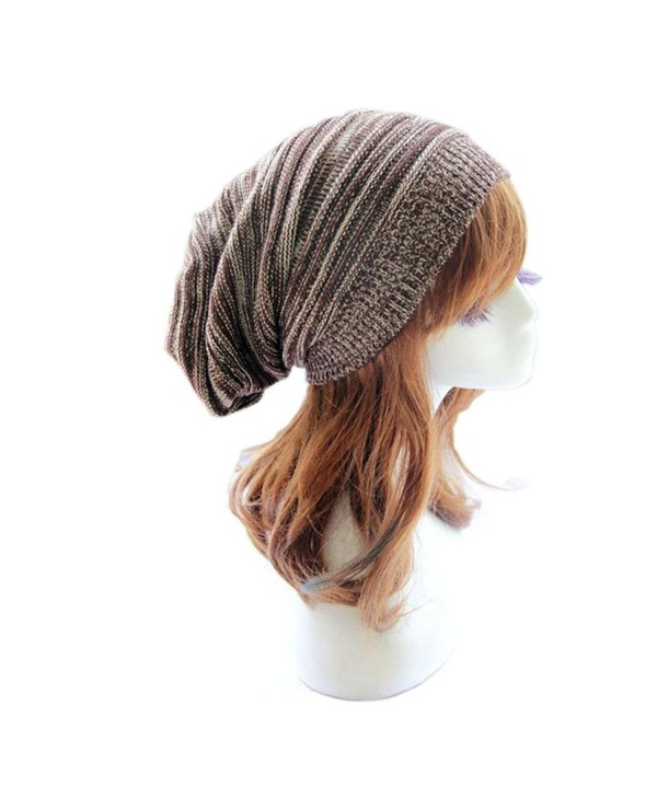 DEESEE Beanie Hat Unisex Knit Baggy Beanie Beret Warm Oversized Ski Cap Hat - Coffee - CX12N18I6VY