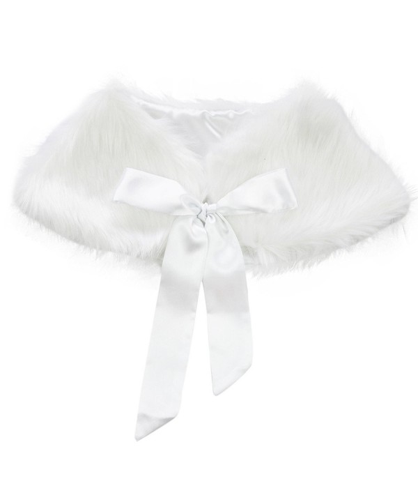 TiaoBug Girls Princess Faux Fur Bolero Shoulder Cape Bridesmaid Shawl Stole Shrug - White - CP1298664MV