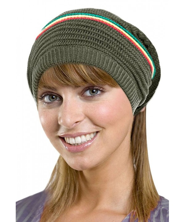 Men / Women's Retro Oversized Slouchy Winter Knit Beanie Hat - Color Stripes_olive - CC186WQ5SR6