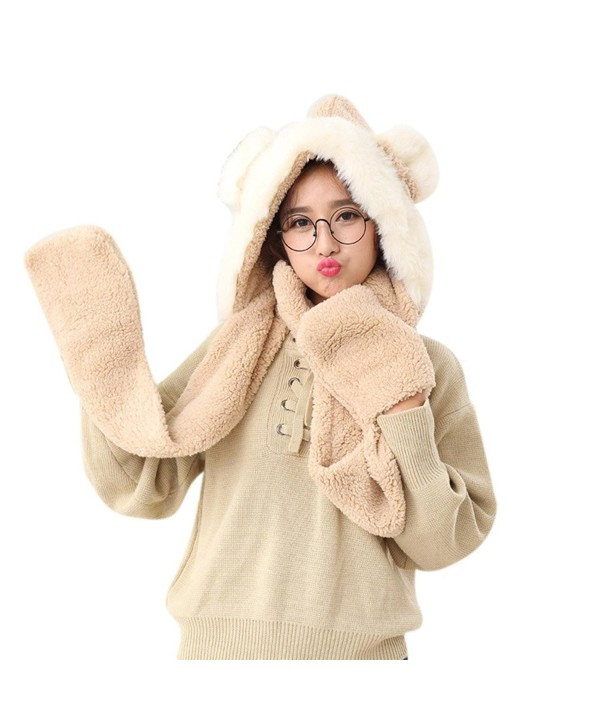 FeelMeStyle Women's Winter Warm Hooded Scarf with Mittens 3-in-1 Hat Scarf Glove - Rabbit-brown - C2187I5O0E5