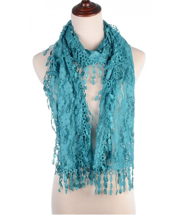 BYOS Womens Fashion Floral Pattern Lace Scarf Shawl With Tassel - Turquoise - C417YKCM2QY