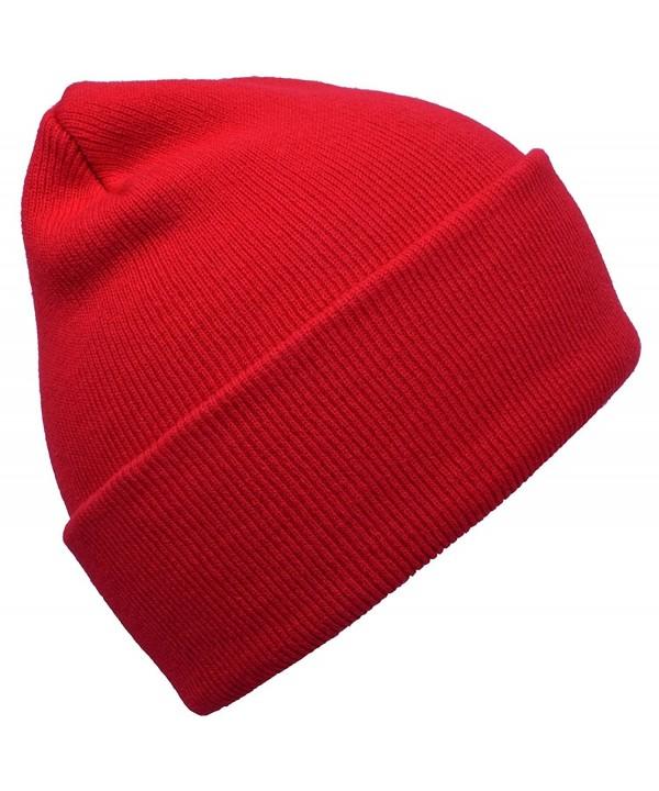 Long Cuffed Blank Winter Beanie - Red - CJ120E6MPQX
