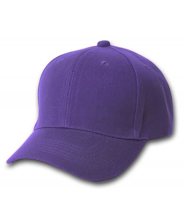 Plain Baseball Cap Blank Hat Solid Color Velcro Adjustable 13 Colors (Purple) - C911EWMBMOR