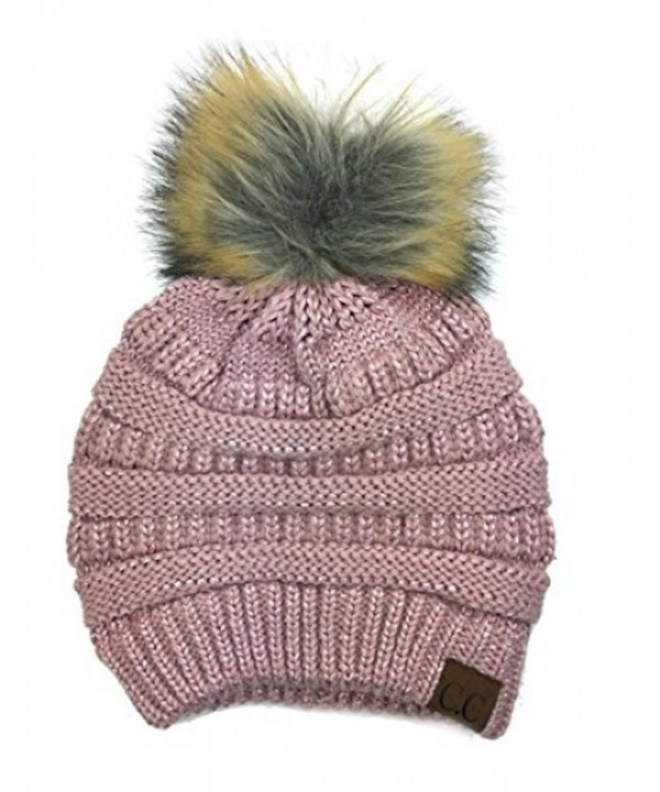 Women Metallic CC Beanie Soft Stretch Cable Knit Pom C.C Beanie Hat 5 Color - Rose - C8188AOMMS8