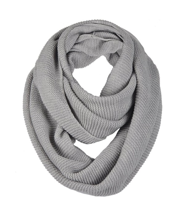Unisex Soft Knit Winter Infinity Scarf (Multicolor Choose) - Light Grey - C212O5NQHM0