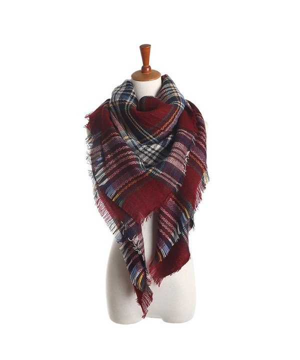 xsby Women's Fall Winter Scarf Classic Tassel Plaid Soft Blanket Shawl Scarves - Red Wine - CY187IO94EU