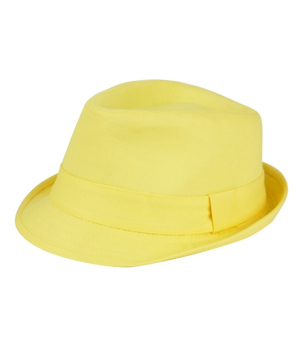 Women's Colorful Cotton Blend Trilby Fedora Hat - Yellow - CB12F5LT19V