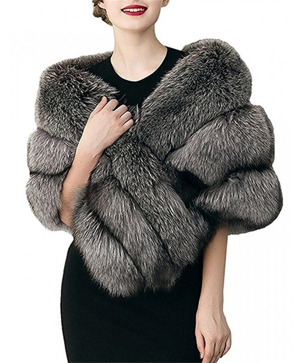 FOLOBE Women Thicken Faux Fur Wrap Shawls Bridal Wedding Scarves Jacket Stoles - Deep Grey - CL188AMZOAD