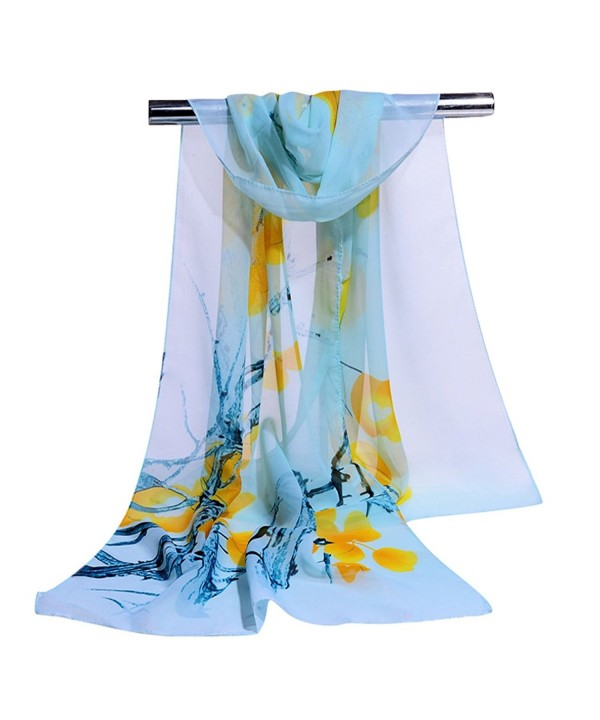 GERINLY Elegant Women Scarves Pretty Flowers Print Sheer Scarf - Lightcyan - C817XQ5M4XO