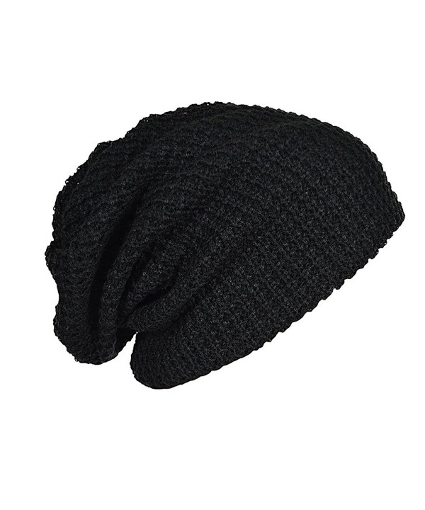 Maying Mens Slouchy Long Beanie Knit Cap For Summer Winter Oversize - Black - CN12MYPJF08