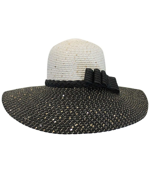 Luxury Divas Two-Tone Shimmery Sun Hat - Black & White - CU11K56BUIH