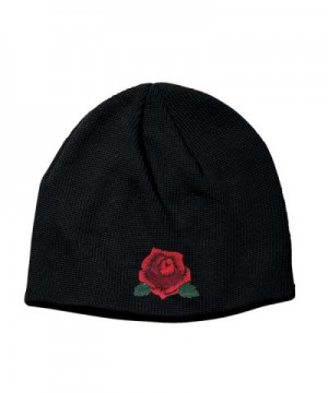 Corona Collection Knit Black Cotton Beanie With Red Rose - CN187QUQHO2