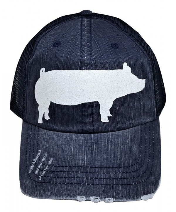 Loaded Lids Women's Giant Pig Design Bling Baseball Cap - Navy/White - CO184ZIL43E