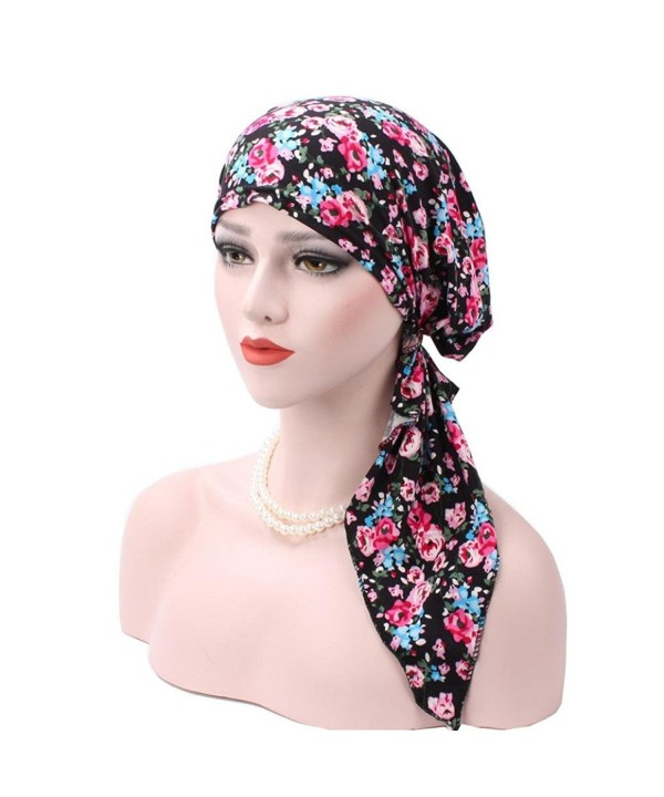 Binmer(TM) Women Muslim Stretch Turban Hat Velvet Hair Loss Head Scarf Wrap - Blue - CY186SZHEIT