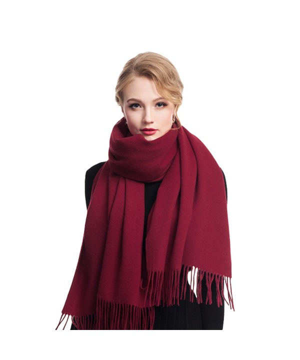 Cashmere Winter Solid Luxurious Shawls - Wine Red - CO1887SOLE7